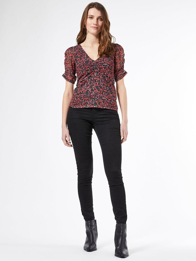 Thumbnail for your product : Dorothy Perkins Ditsy Mesh Ruched Sleeve T-shirt - Black