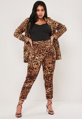 Missguided x Plus Size Brown Leopard Print Co Ord Satin Cigarette Trousers