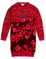 Kenzo Long-Sleeve Printed Cotton Sweaterdress, Red, Size 14-16