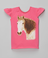 Mulberribush Fuchsia Horse Angel-Sleeve Tee - Infant Toddler & Girls