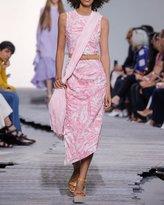 Michael Kors Sleeveless Beaded Palm-Print Linen Dress