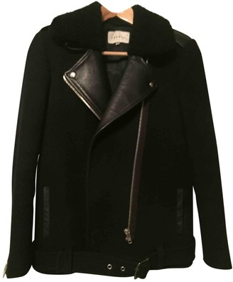 Sandro Navy Wool Leather jackets