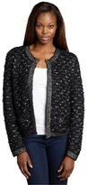 Magaschoni Black and white bouclé open front cardigan