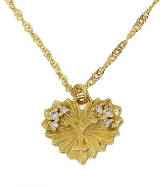 "Ahkah 18K Yellow Gold with Diamonds Heart "" Y"" Motif Design Pendant Necklace"