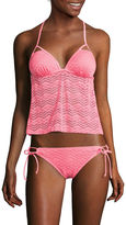 Arizona Mix & Match Coral Molded Cup Tankini Swim Top - Juniors