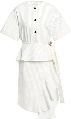 GOEN.J Wrap-effect Pinstriped Linen-blend Peplum Dress