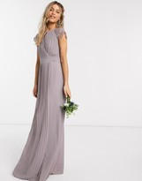 Thumbnail for your product : TFNC bridesmaid lace sleeve maxi dress in grey