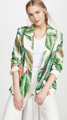 Farm Rio Forest Palm Linen Blazer