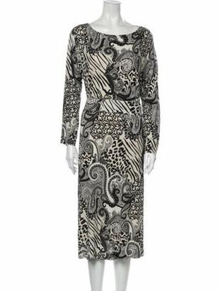 Etro Paisley Print Midi Length Dress Black