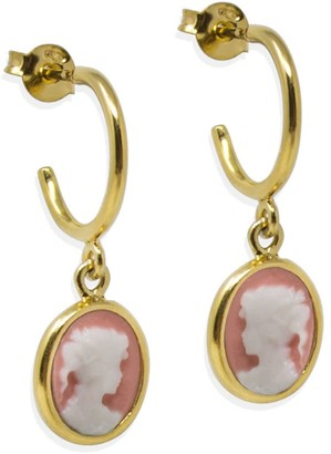 Vintouch Italy Gold-Plated Pink Mini Cameo Hoop Earrings