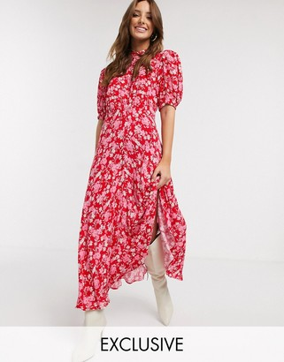 Ghost exclusive luella floral print midi dress in pink floral