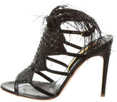 Rupert Sanderson Feather-Embellished Cage Sandals