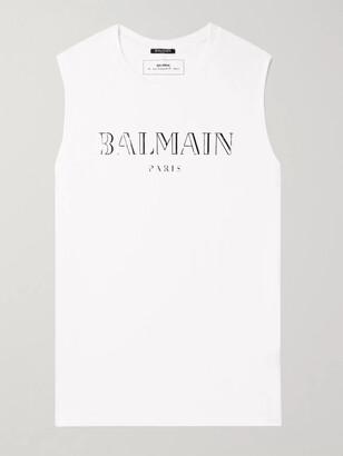 Balmain Metallic Logo-Print Cotton-Jersey Tank Top