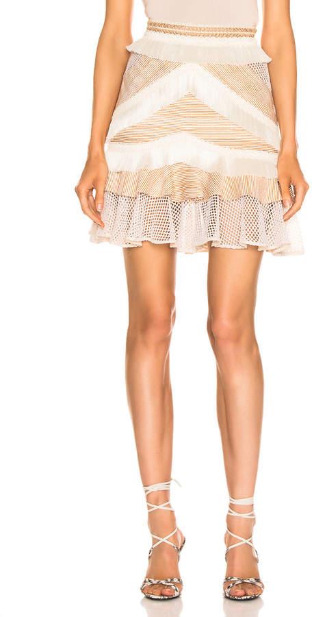 PatBO Mesh & Fringe Tiered Mini Skirt in Wheat   FWRD