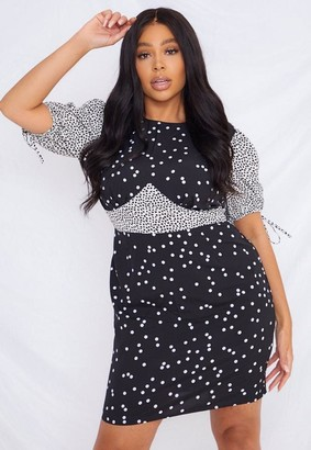 Missguided Plus Size Black Polka Dot Mix Print Dress