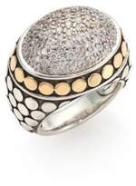 John Hardy Dot Diamond, 18K Yellow Gold & Sterling Silver Dome Ring