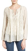 Lucky Brand Women's Lace-Up Metallic Top