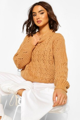 boohoo Chunky Cable Pointelle sweater