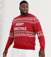 Jack & Jones Originals Christmas fairisle knitted jumper in red