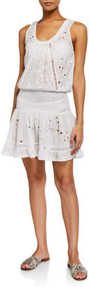 Ramy Brook Petra Scoop-Neck Eyelet Flounce Mini Dress