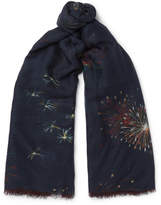 Valentino Firework-print Cashmere, Silk And Wool-blend Scarf - Navy