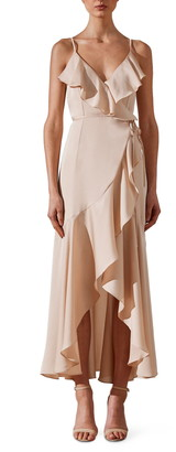 Shona Joy Luxe Ruffle Trim Wrap Gown
