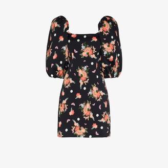 Rebecca De Ravenel Pouf Sleeve Floral Mini Dress