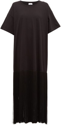 Raey Fringed-hem Cotton T-shirt Dress - Black