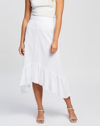 Atmos & Here Atmos&Here - Women's White Midi Skirts - Tasha Cotton Skirt - Size 16 at The Iconic