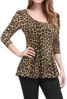 Allegra K Women's Long Sleeves Scoop Neck Leopard Prints Peplum Top L Grey