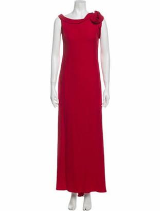 Valentino Bateau Neckline Long Dress Red