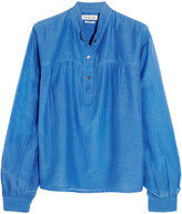 Etoile Isabel Marant Laper Cotton And Silk-blend Blouse - Blue
