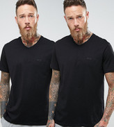 BOSS Black By Hugo V-Neck T-Shirt 2 Pack In Relaxed Fit Black