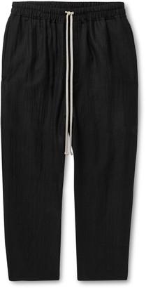 Rick Owens Black Cropped Wool-Blend Seersucker Drawstring Trousers