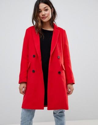Brave Soul glenda double breasted coat-Red