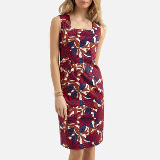 Anne Weyburn Sleeveless Mid-Length Shift Dress in Floral Print Cotton