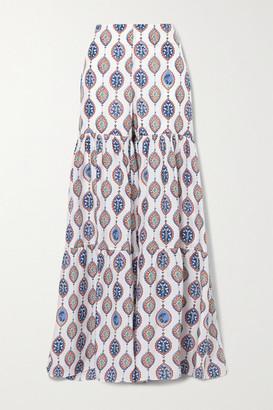 Chloé Tiered Printed Silk-habotai Flared Pants - Blue