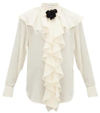 Victoria Beckham Corsage-brooch Ruffled Silk Blouse - Womens - Ivory