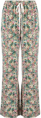 See by Chloe High-Rise Floral-Print Flared Trousers
