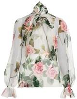 Dolce & Gabbana Silk Organza Rose-Print Tieneck Blouse