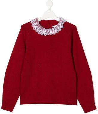 Chloé Kids TEEN scalloped neck cotton jumper
