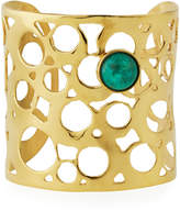 Devon Leigh Wide Cutout Cuff Bracelet w/ Green Cabochon