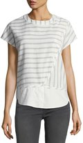 Derek Lam 10 Crosby Striped Crewneck Boxy Crossover Top w/ Buttons