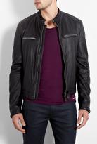 Burberry Black Zipper Leather Biker Jacket