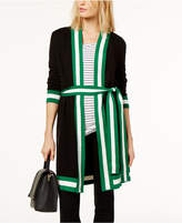INC International Concepts Belted Contrast-Trim Open Cardigan, Created for Macy's