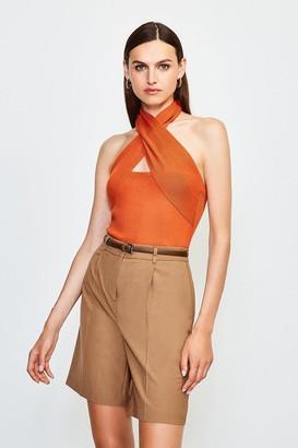 Karen Millen Cross Neck Sleeveless Knitted Top