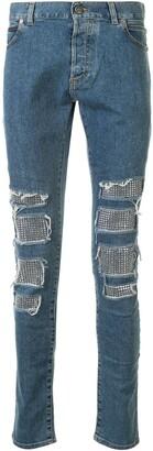 Balmain Studded Distressed Skinny Jeans