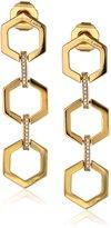 """Rachel Zoe Gavriel"""" -Plated Hexagon Linear Drop Earrings"""