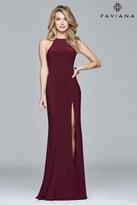 Faviana Halter Neck Jersey Trumpet Dress in Wine 1005821