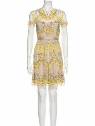 Needle & Thread Crew Neck Mini Dress w/ Tags Yellow